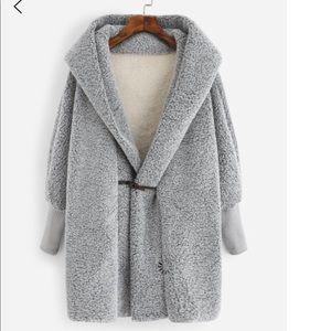 Jackets & Blazers - Grey hooded sweater